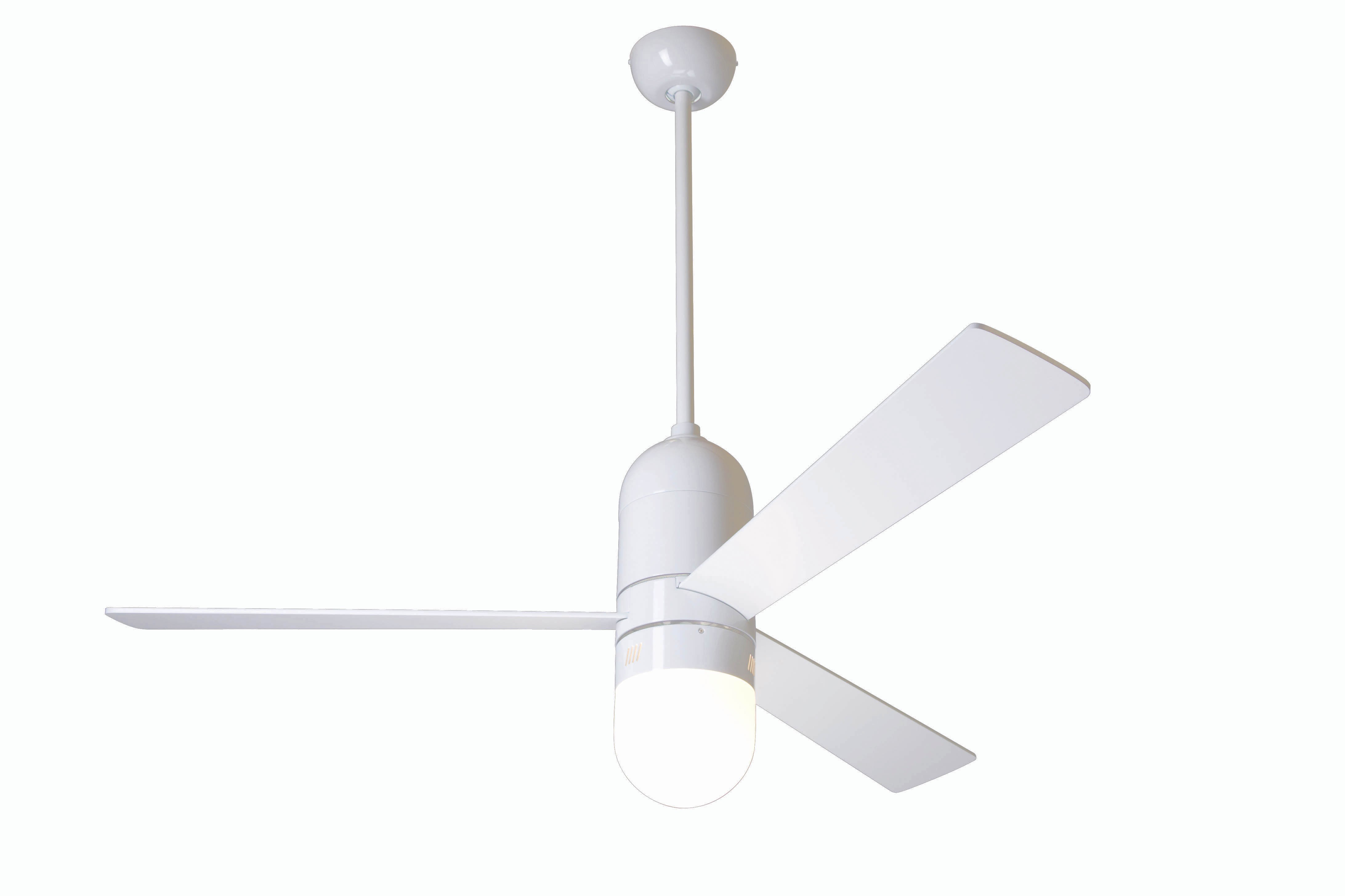 Modern fan company cir gw 42 wh 353 nc cirrus gloss white ceiling fan - Modern white ceiling fan ...