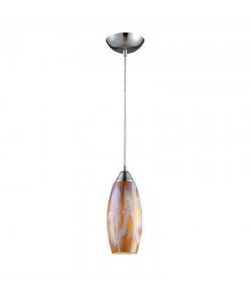 ELK Lighting 10076/1GI Iridescence 1 Light Golden Pendant in Satin Nickel