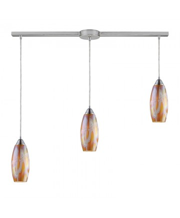 ELK Lighting 10076/3L-GI Iridescence 3 Light Golden Pendant in Satin Nickel