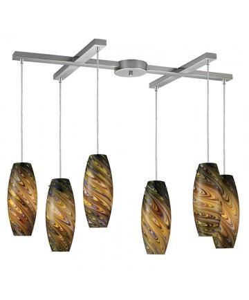 ELK Lighting 10079/6CV Vortex 6 Light Cellestial Pendant in Satin Nickel