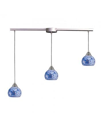 ELK Lighting 101-3L-BL Mela 3 Light Pendant in Satin Nickel and Starlight Blue Glass