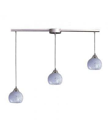 ELK Lighting 101-3L-SW Mela 3 Light Pendant in Satin Nickel and Snow White Glass