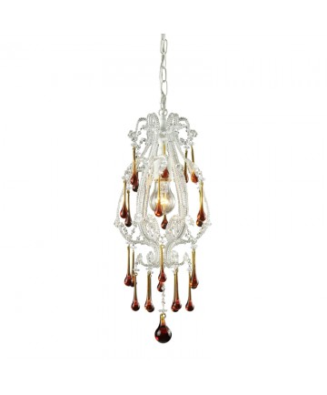 ELK Lighting 12003/1AMB Opulence 1 Light Pendant in Antique White and Amber Crystals