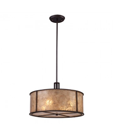 ELK Lighting 15032/4 Barringer 4 Light Pendant in Aged Bronze and Tan Mica Shade