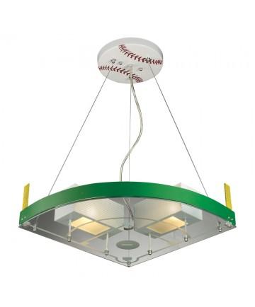 ELK Lighting 21013/2 Novelty 2 Light Baseball Field Pendant in White/green