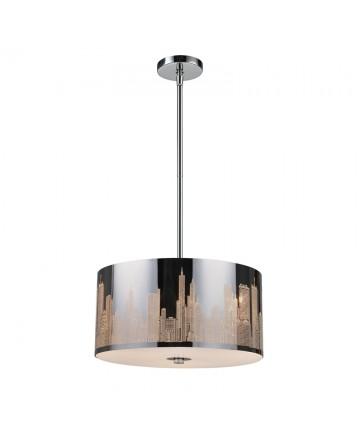 ELK Lighting 31038/3 Skyline 3 Light Pendant in Polished Stainless Steel