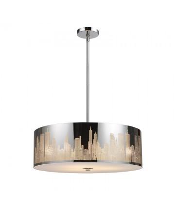 ELK Lighting 31039/5 Skyline 5 Light Pendant in Polished Stainless Steel