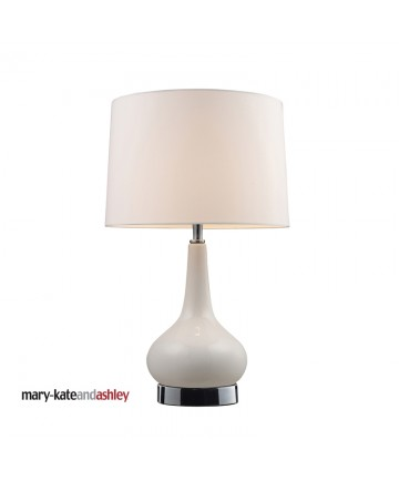 Dimond Lighting 3925/1 Continuum Table Lamp with White Base and Chrome Hardware Pure White Shantung Shade