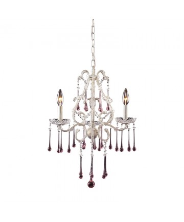 ELK Lighting 4001/3RS Opulence 3 Light Chandelier in Antique White and Rose Crystal