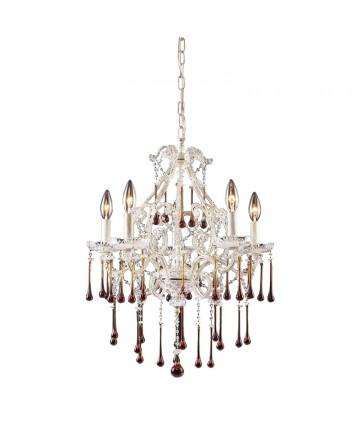 ELK Lighting 4002/5AMB Opulence 5 Light Chandelier in Antique White and Amber Crystal