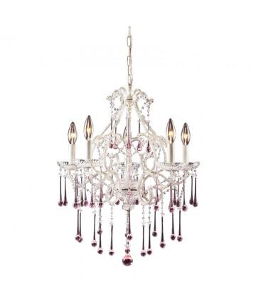 ELK Lighting 4002/5RS Opulence 5 Light Chandelier in Antique White and Rose Crystal