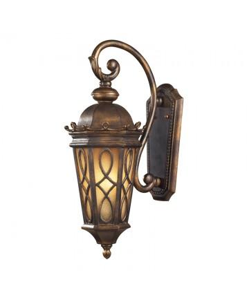 ELK Lighting 42001/2 Burlington Junction 2 Light Wall Bracket in Hazlenut Bronze and Amber Scavo Glass