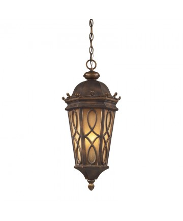 ELK Lighting 42003/3 Burlington Junction 3 Light Outdoor Pendant in Hazlenut Bronze and Amber Scavo Glass