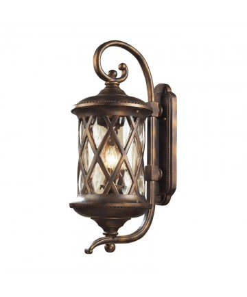 ELK Lighting 42032/3 Barrington Gate 3 Light Outdoor Sconce in Hazlenut Bronze and Designer Water Glass