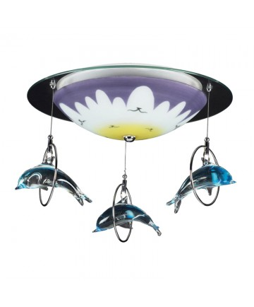 ELK Lighting 5087/2 Novelty 2 Light Dolphin Flush Mount in Satin Nickel