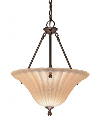 Nuvo Lighting 60/013 Moulan 3 Light 16 inch Pendant with Champagne Linen Washed Glass