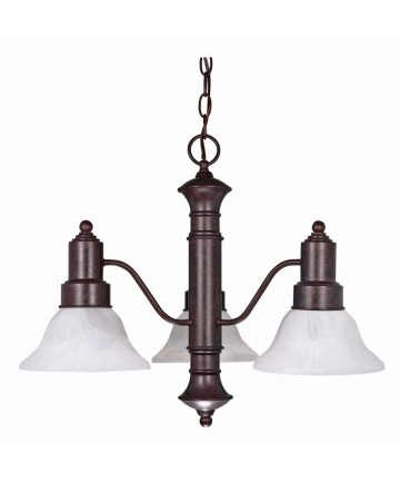 Nuvo Lighting 60/192 Gotham 3 Light 23 inch Chandelier with Alabaster Glass Bell Shades
