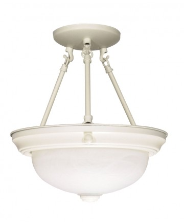 Nuvo Lighting 60/224 2 Light 11 inch Semi-Flush Alabaster Glass
