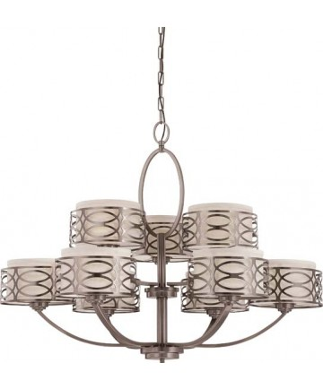 Nuvo Lighting 60/4730 Harlow 9 Light Chandelier with Khaki Fabric Shades
