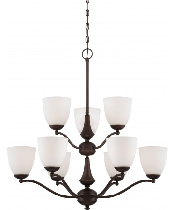 Nuvo Lighting 60/5139 Patton 9 Light 2 Tier Chandelier with Frosted