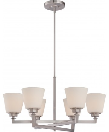 Nuvo Lighting 60/5456 Mobili 6 Light Chandelier with Satin White Glass