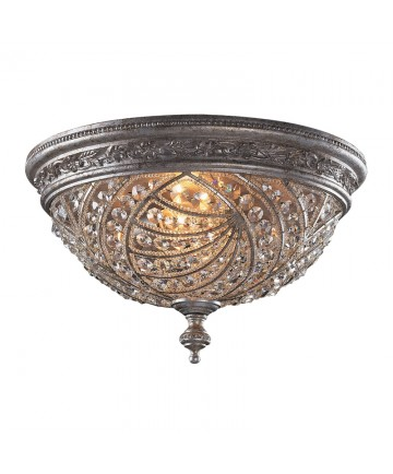ELK Lighting 6232/4 Renaissance 4 Light Flush Mount in Sunset Silver and Crystal Accents