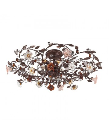 ELK Lighting 7047/6 Cristallo Fiore 6 Light Semi Flush in Deep Rust and Hand Blown Florets