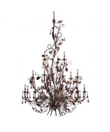 ELK Lighting 85004 Cristallo Fiore 18 Light Chandelier in Deep Rust and Hand Blown Florets