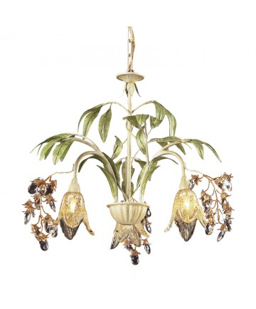 ELK Lighting 86052 Huarco 3 Light Chandelier in Seashell and Amber Glass