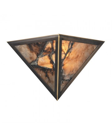ELK Lighting 9003/2 Imperial Granite 2 Light Wall Bracket in Antique Brass and Veined Stone