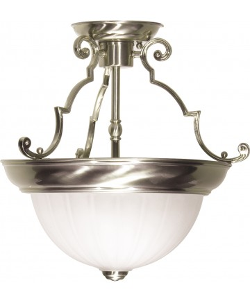 "Nuvo Lighting SF76/433 2 Light 13"" Semi-Flush Frosted Melon Glass"
