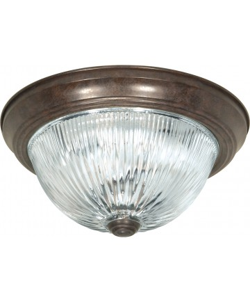 """Nuvo Lighting SF76/606 2 Light 11"""" Flush Mount Clear Ribbed Glass"""