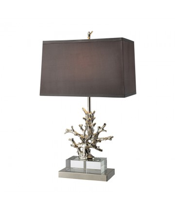 Dimond Lighting D1867 Covington Table Lamp in Polished Nickel and Clear Crystal with Slate Grey Faux Silk Shade and Light Silver Fabric Liner