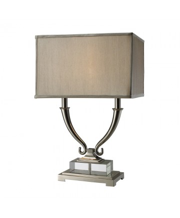 Dimond Lighting D1873 Roberts 2 Light Table Lamp in Polished Nickel and Clear Crystal with Light Grey Faux Silk Shade Pure White Fabric Liner