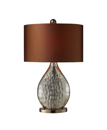 Dimond Lighting D1889 Sovereign Table Lamp in Antique Mercury and Coffee Plating with Oval Copper Faux Silk Shade and Bright Copper Liner