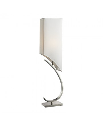 Dimond Lighting D2005 Appleton Table Lamp in Polished Nickel with Pure White Shantung Shade Pure White Fabric Liner