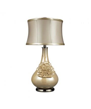 Dimond Lighting D2115 Eleanor Elenaor Table Lamp in Pearlescent Cream Finish with Cream Shade- Metallic Cream Faux Leather Trim