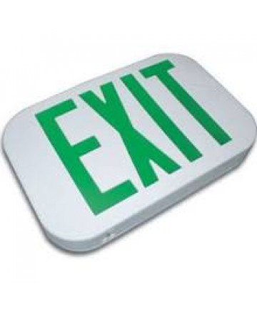 Exitronix ILX-G-EM-WH - LED Exit Sign - 6 Inch Green Letter - 120V / 277V - Battery Backup - White Thermoplastic - Exit Sign