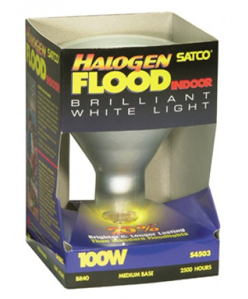 Satco S4503 Satco Light Bulbs 100BR40/FL/HAL Halogen Reflector Flood Lamp