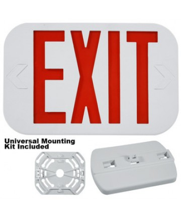 Exitronix ILX-R-EM-WH - LED Exit Sign - 6 Inch Red Letter - 120V / 277V - Battery Backup - White Thermoplastic - Exit Sign