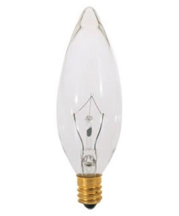 Satco S3230 Satco 15B9.5 15 Watt 120 Volt B9.5 Candelabra Base Clear Torpedo Tip Decorative Light Bulb
