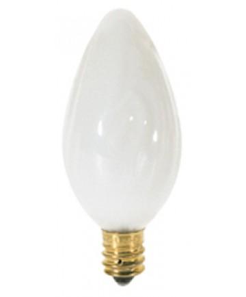 Satco S2761 Satco 15F10/W 15 Watt 120 Volt F10 Candelabra Base White Flame Tip Incandescent Light Bulb