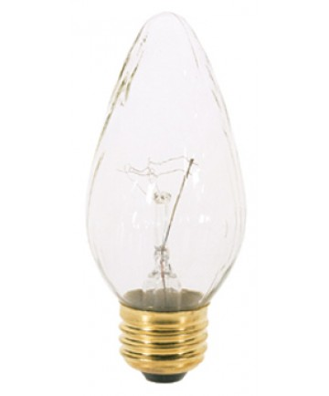 Satco S3363 Satco 25F15 25 Watt 120 Volt F15 Medium Base Clear Flame Tip Incandescent Light Bulb