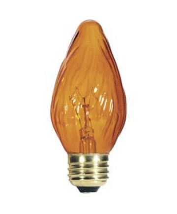 Satco S3377 Satco 60F15/A 60 Watt F-15 120 Volt E26 Medium Base Amber Decorative Incandescent Light Bulb