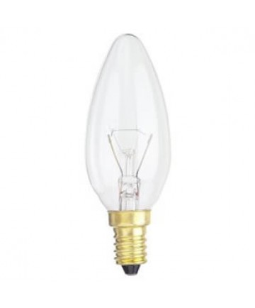 Satco S3394 Satco 40b10 40 Watt 220 Volt B10 E14 Euro Base Clear Torpedo Tip Decorative Light Bulb