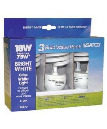 Satco S6272 Satco 18 Watt 120 Volt T2 Ultra Mini Spiral E26 Medium Base 4100K 10,000 Hour Eco-Friendly Compact Fluorescent Lamp (CFL)