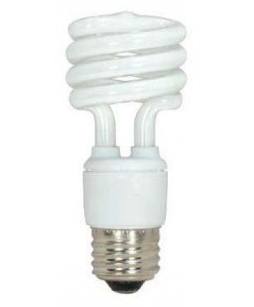 Satco S5509 Satco 11 Watt 120 Volt T2 Ultra Mini Spiral E26 Medium Base 5000K 10,000 Hour Eco-Friendly Compact Fluorescent Light Bulb (CFL)
