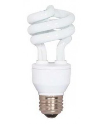 Satco S5521 Satco 15 Watt 120 Volt T2 Ultra Mini Spiral E26 Medium Base 5000K 10,000 Hour Eco-Friendly Compact Fluorescent Light Bulb (CFL)