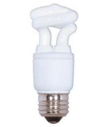 Satco S5503 Satco 5 Watt 120 Volt T2 Ultra Mini Spiral E26 Medium Base 5000K 10,000 Hour Eco-Friendly Compact Fluorescent Light Bulb (CFL)