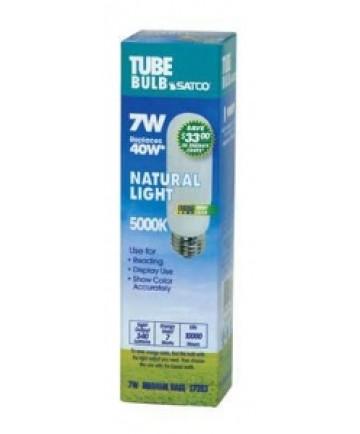 Satco S7383 Satco 7 Watt T-10 E26 Medium Base 5000K 10,000 Hour Eco Friendly Compact Fluorescent Light Bulb (CFL)